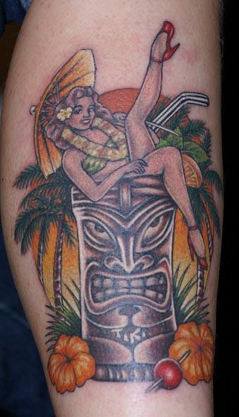 tiki pin up tattoo picture. Black Bedroom Furniture Sets. Home Design Ideas