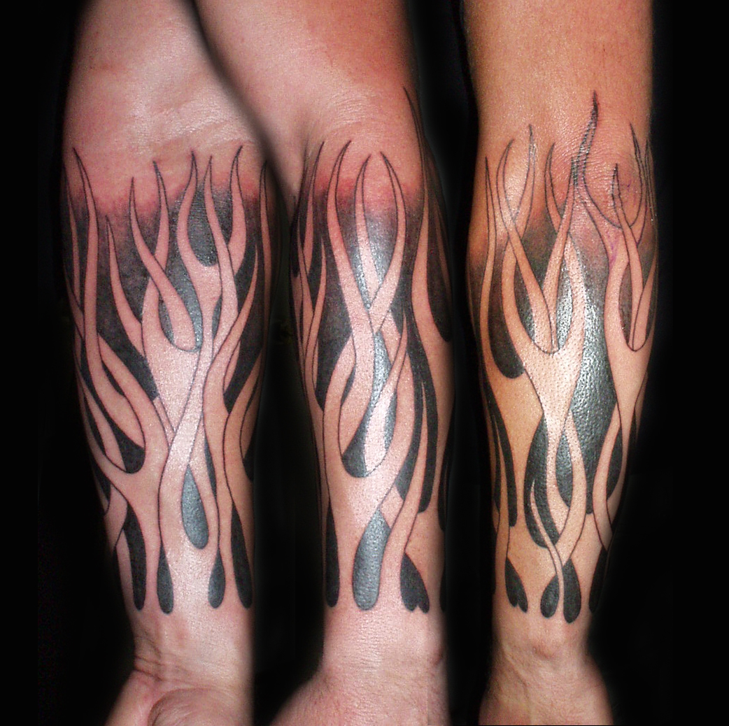 Flame Sleeve Work Tattoo Design Picture