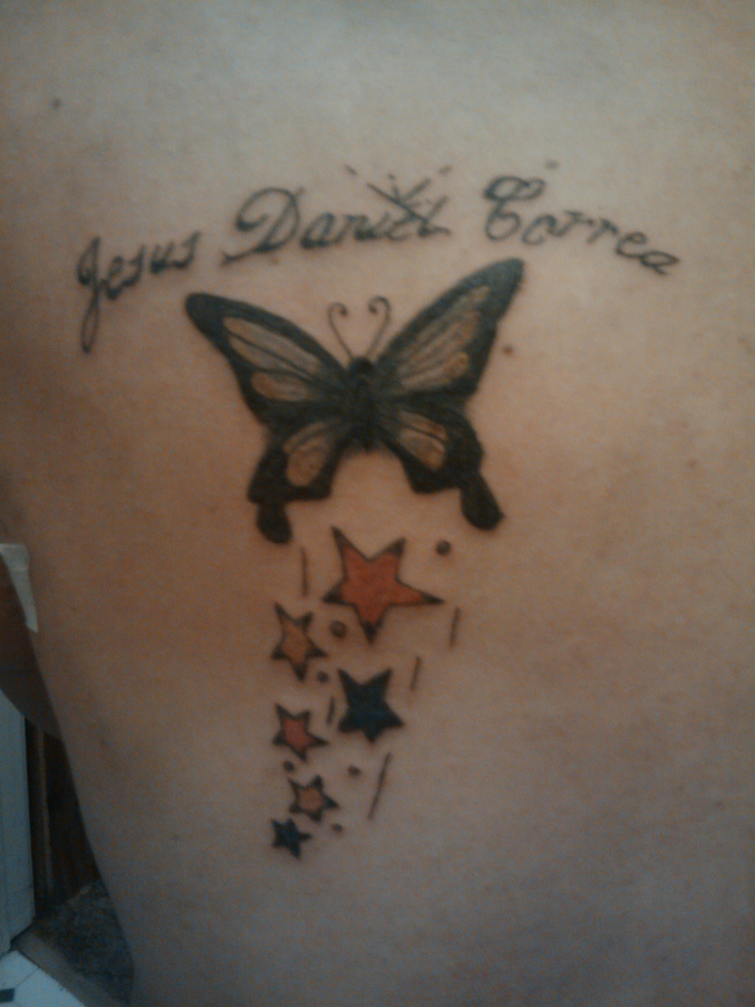 Butterfly With Stars Tattoo Picture