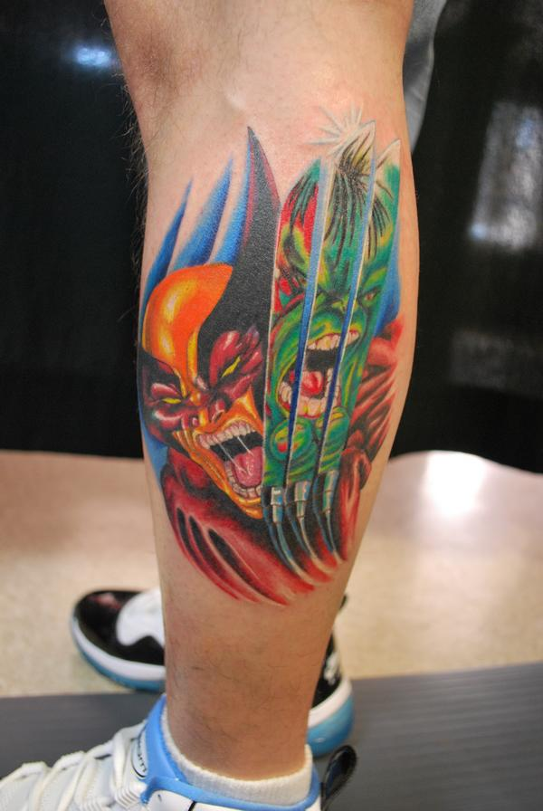wolverine with hulk tattoo picture. Black Bedroom Furniture Sets. Home Design Ideas