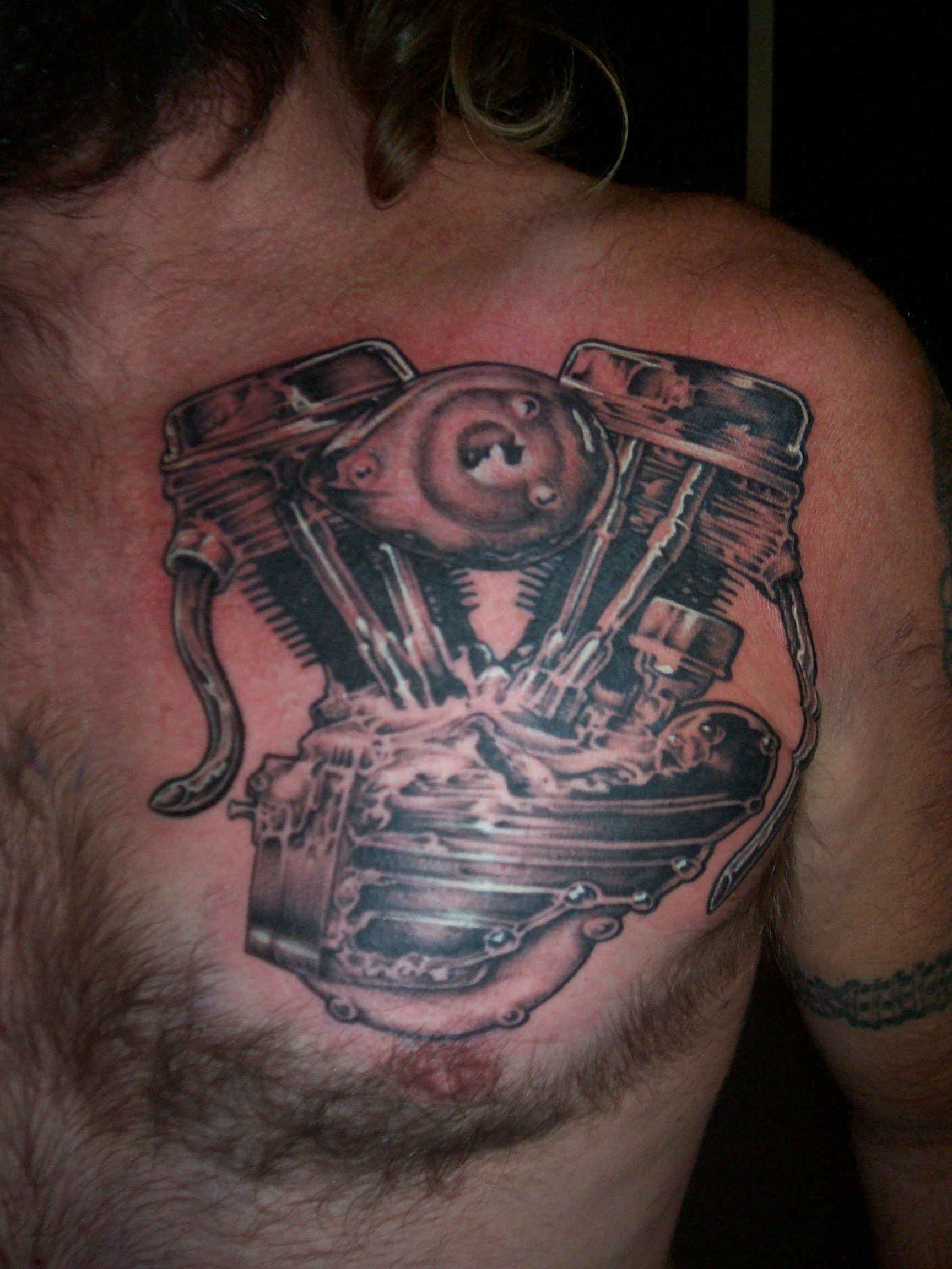 Harley Davidson Pan Motor Tattoo Design Picture
