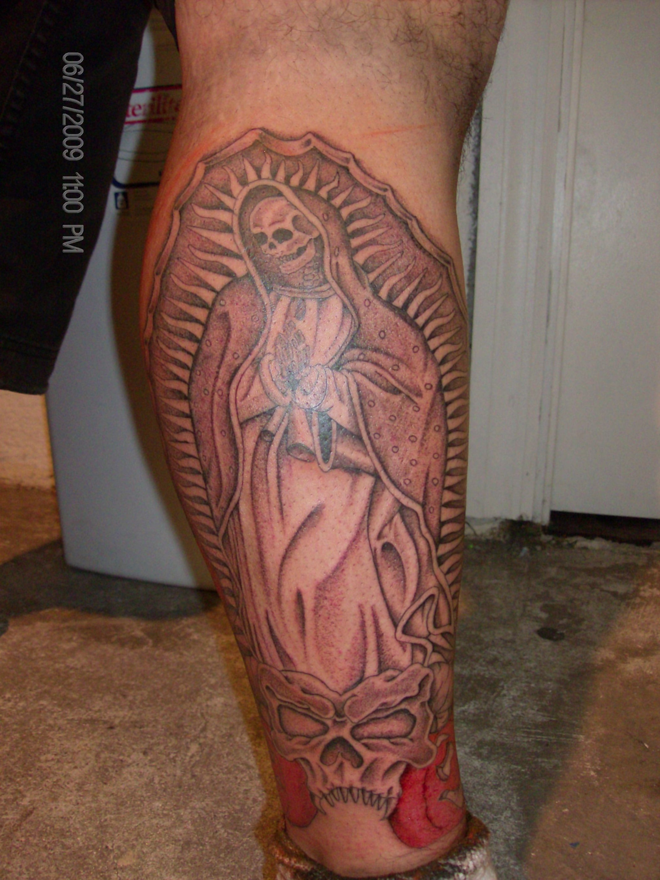 virgin mary skeleton tattoo picture. Black Bedroom Furniture Sets. Home Design Ideas