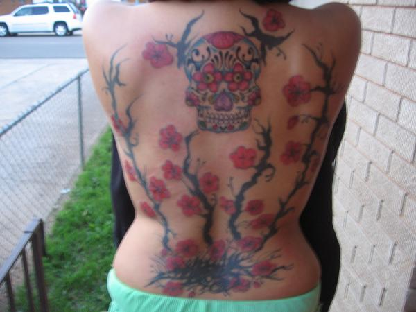 cherry blossoms, day of the dead skull