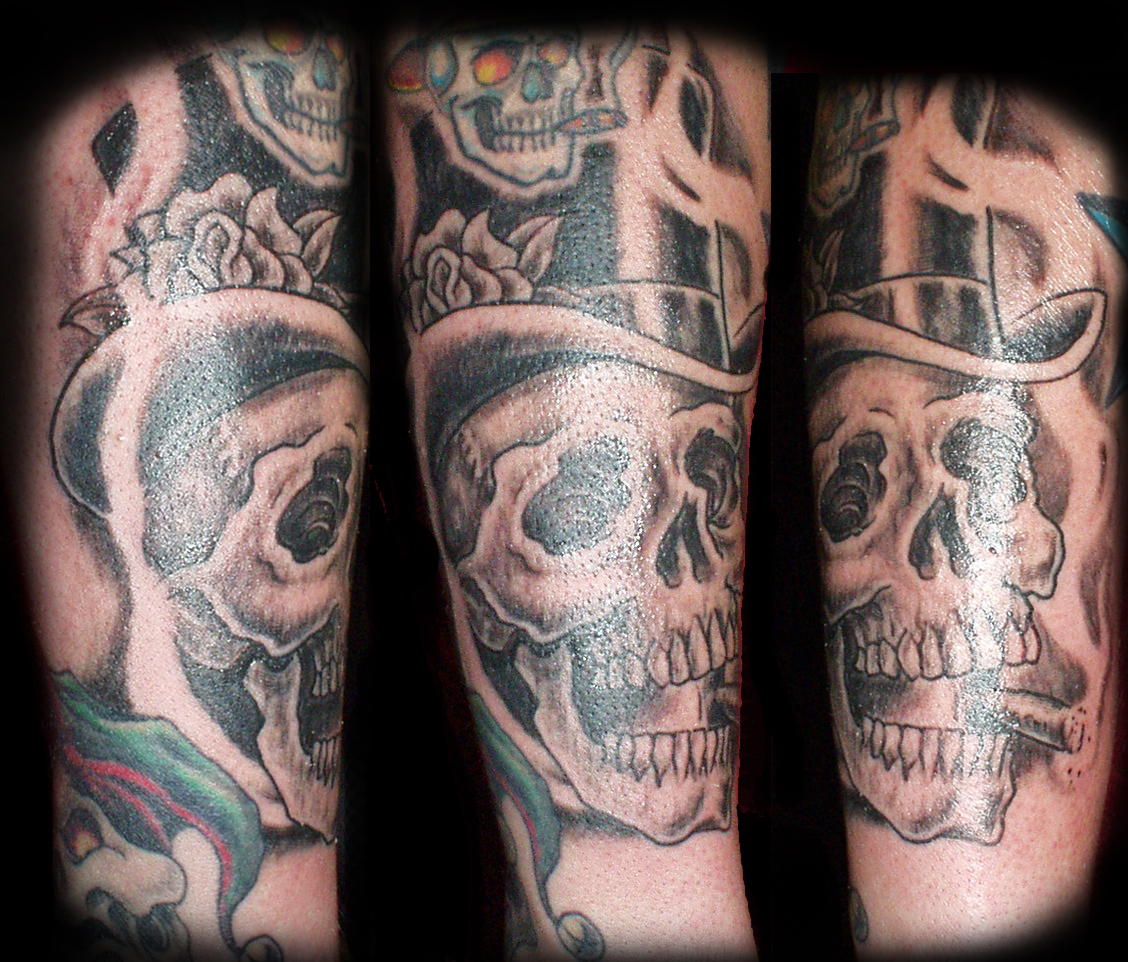 tophatted skull tattoo picture. Black Bedroom Furniture Sets. Home Design Ideas