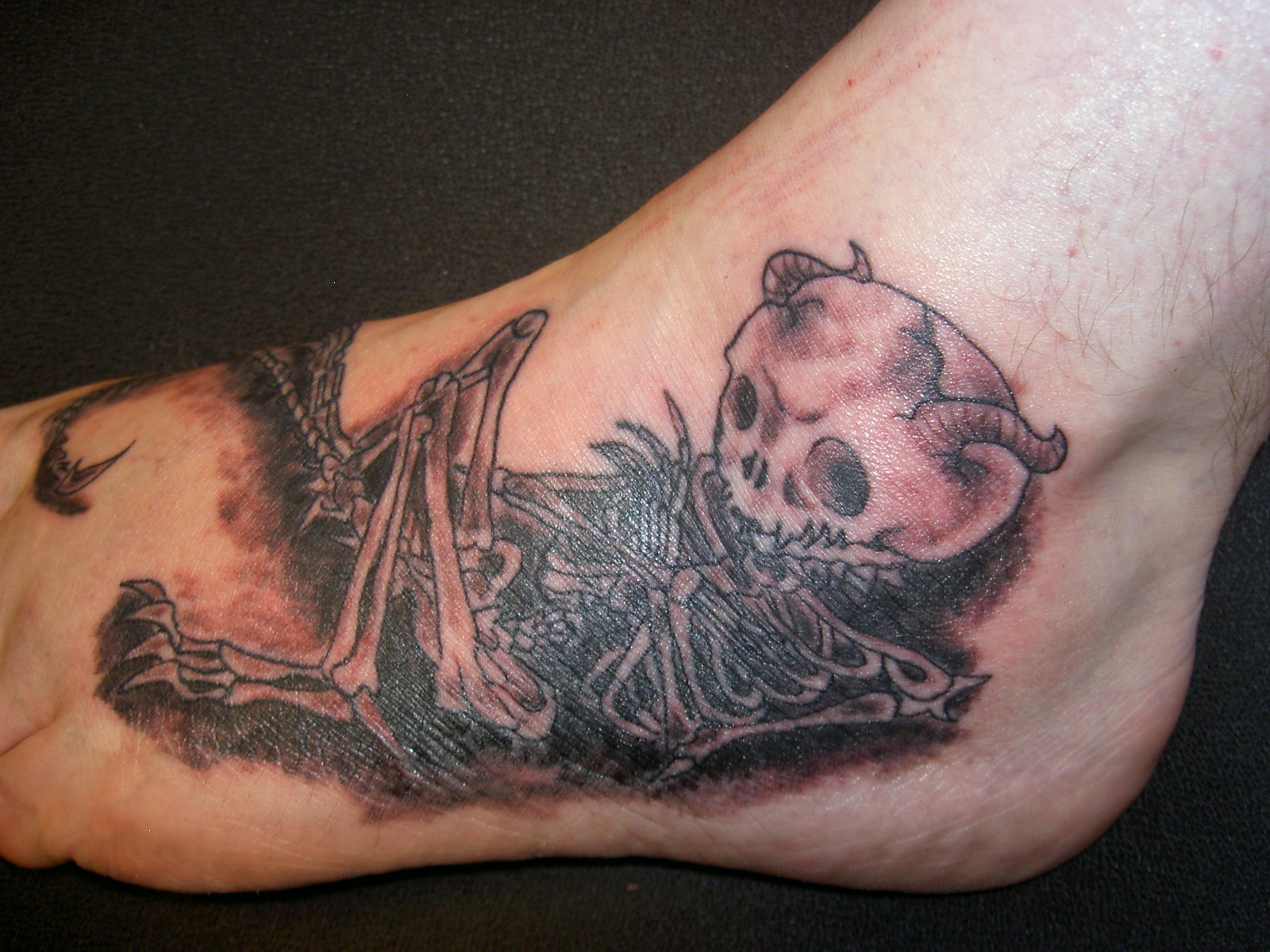 Skeleton on foot