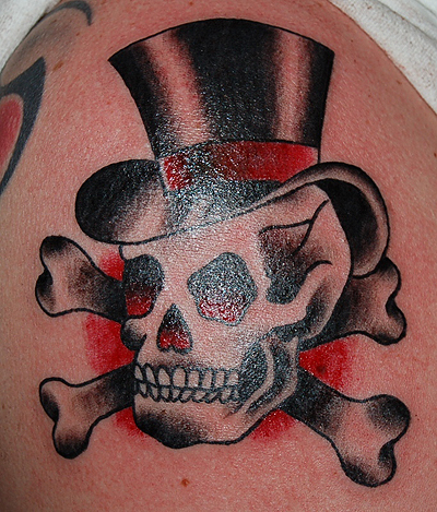 skull in hat tattoo picture. Black Bedroom Furniture Sets. Home Design Ideas
