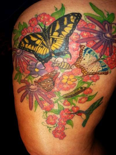garden of butterflies tattoo picture