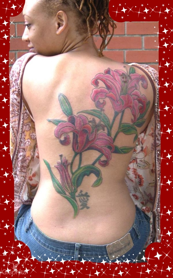 lily back piece tattoo picture. Black Bedroom Furniture Sets. Home Design Ideas