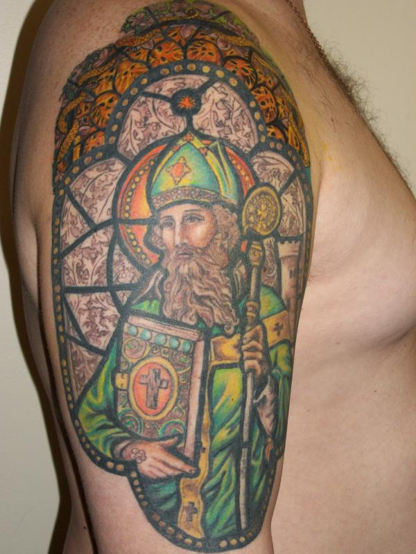 St patrick stained glass window tattoo picture for Tattoos catholic church