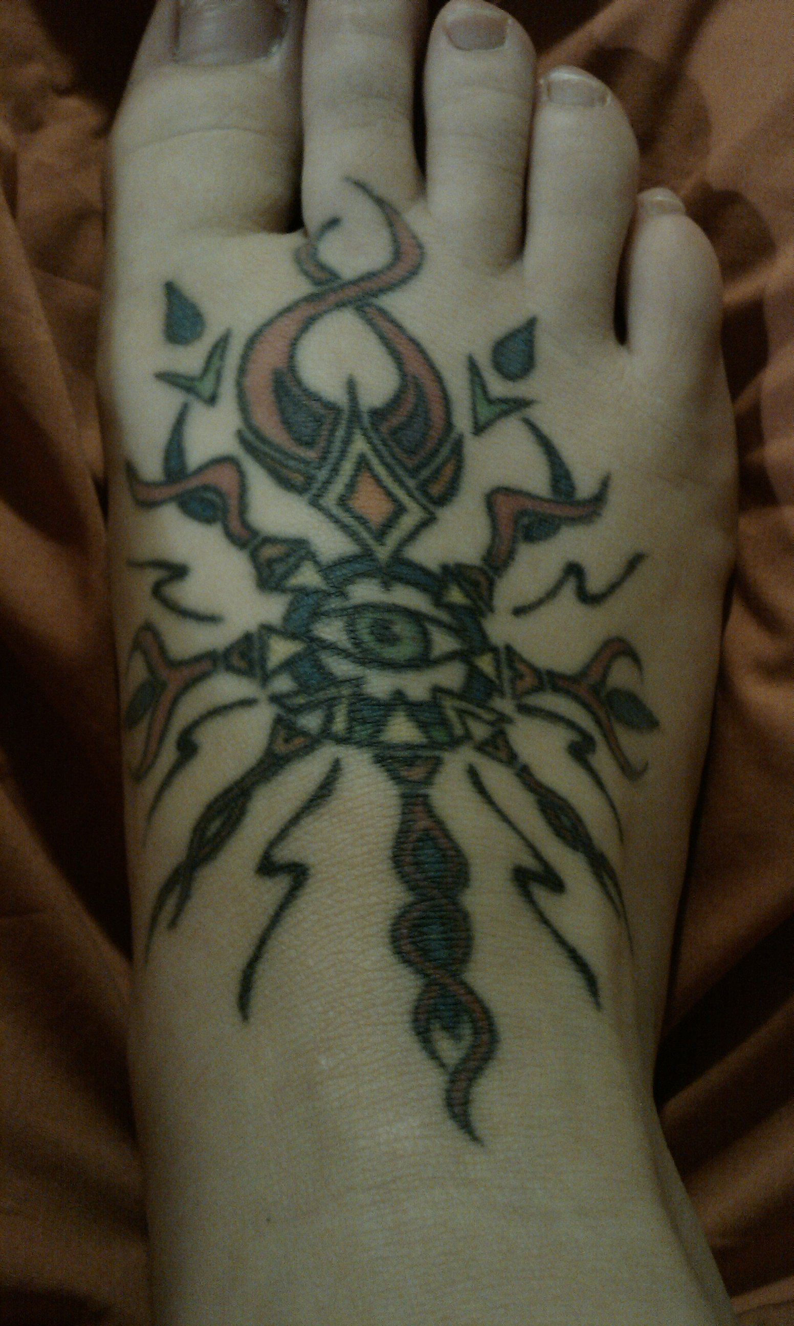 2nd tattoo tribal sun on foot