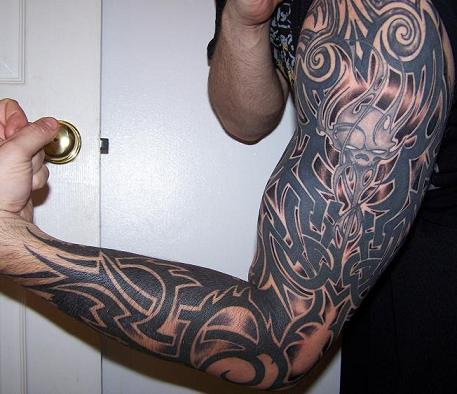 celtic tattoo tribal sleeve designs Tribal Acid On Upper Picture Tattoo Arm