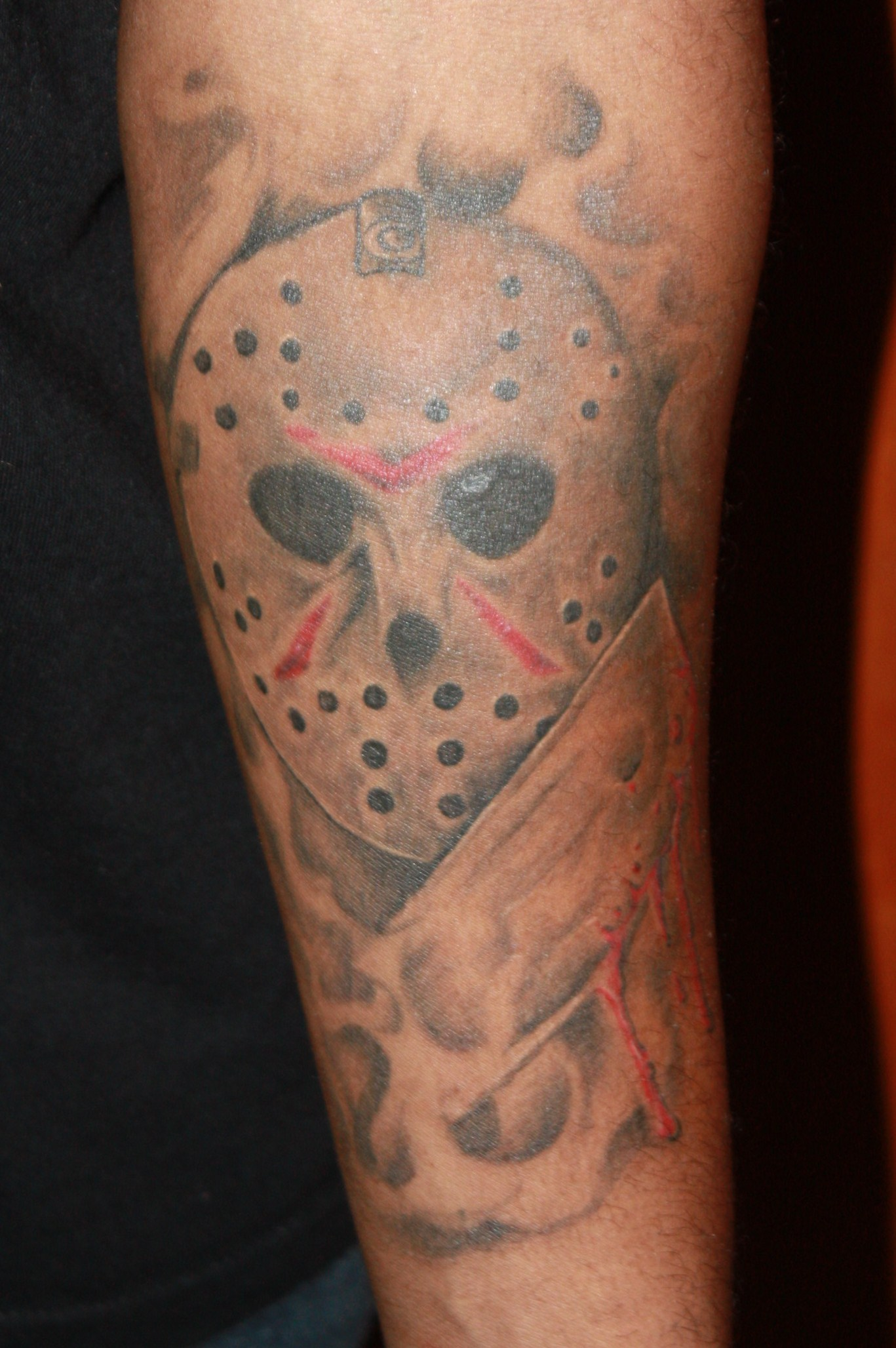 jason mask with knife tattoo picture. Black Bedroom Furniture Sets. Home Design Ideas