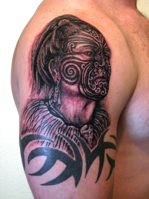 portrait of maori warrior tattoo picture. Black Bedroom Furniture Sets. Home Design Ideas