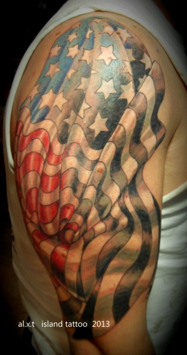 American flag tribal tattoos images for Patriotic tribal tattoos