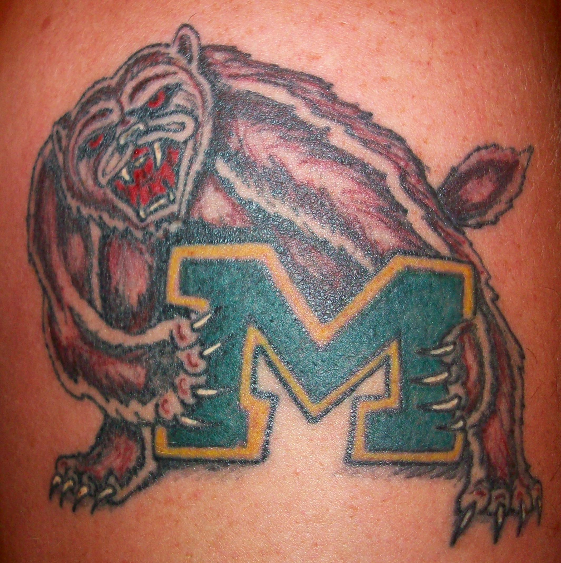 michigan wolverine tattoo picture. Black Bedroom Furniture Sets. Home Design Ideas