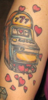 Insert coin slot tattoo