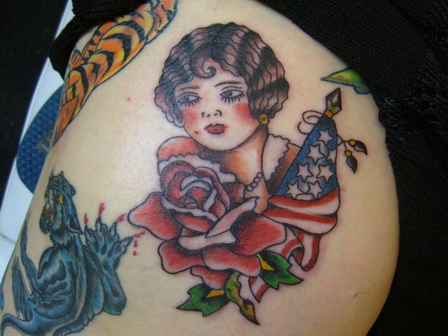 Traditional pin up tattoo picture for Traditional pin up tattoos