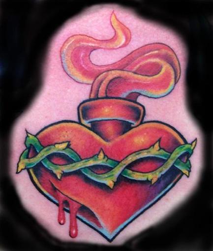 Irish celtic cross tattoo designs - Sacred Heart Chest Centerpiece Tattoo Picture