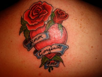 Love heart roses tattoo picture for Tattoos with roses and hearts