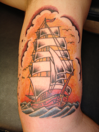 designs tribal pirate ship tattoo Traditional Ship Tattoo Picture