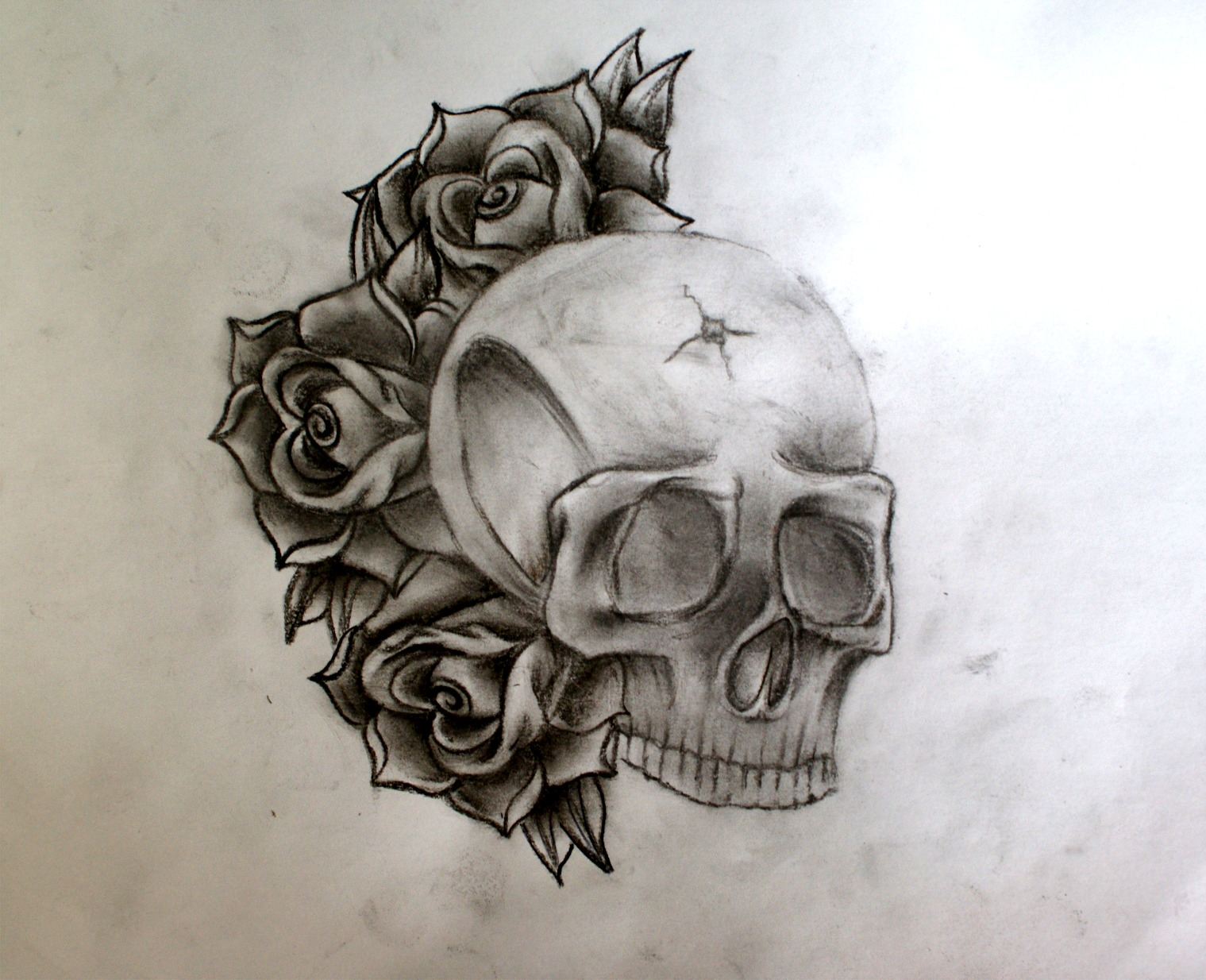 skull n roses tattoo picture. Black Bedroom Furniture Sets. Home Design Ideas
