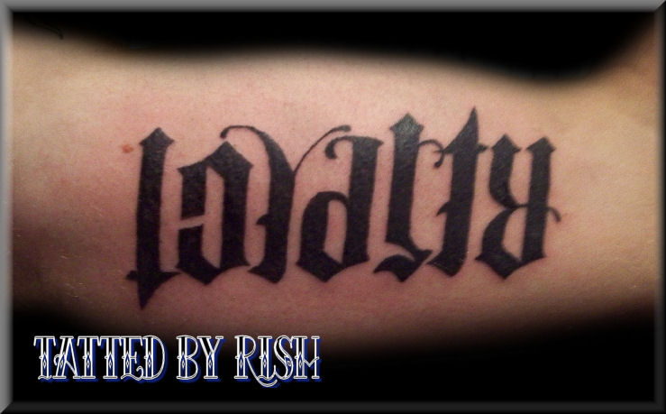 ambigram loyalty respect tattoo picture. Black Bedroom Furniture Sets. Home Design Ideas