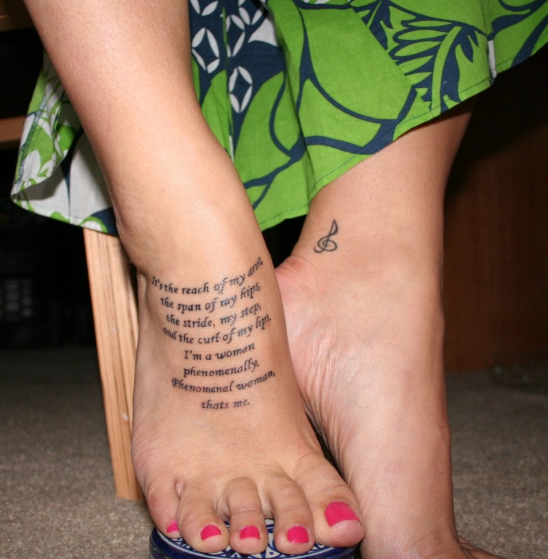 Stanza From Maya Angelou Poem Tattoo Picture