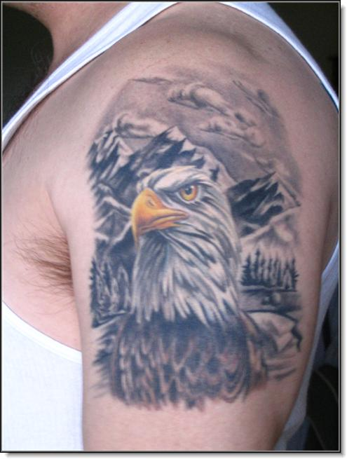 bald eagle and scenery tattoo picture. Black Bedroom Furniture Sets. Home Design Ideas