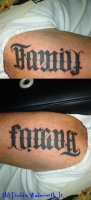 Family/Forever Ambigram on arm
