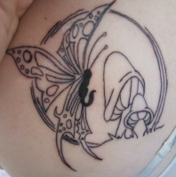 Butterfly and Mushrooms - Color shortly