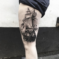 Black Ship Tattoo By Kev Richardson