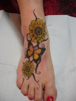 sunflower on foot