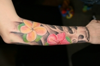 half sleeve girl flowers
