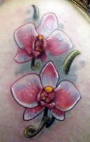 Orchid Tattoo On Neck
