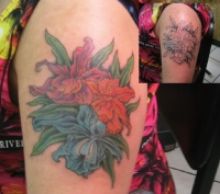 floral cover-up Tattoo by aaron dale @ Shaw's Tattoo Studio