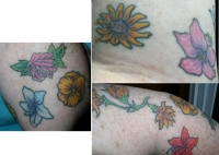 Flowers on left arm