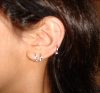 Double Lobe Piercings with Cartilage Ring