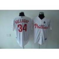 mlb philadelphia phillies #34 halladay white(red strip)