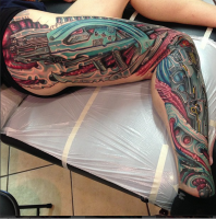 Biomechanical tattoo by Roman Abrego