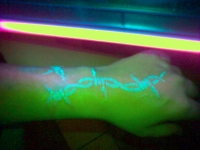 Left wrist, under blacklight
