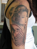 Geisha portrait by Frenchman Tattoo Campbell River