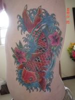 Koi and Hibiscus