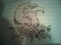 Eagle and roses