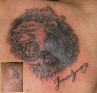 lion cover-up aaron dale @Shaw's Tattoo Studio